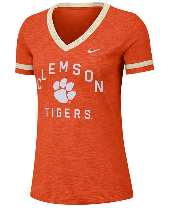 Nike Women's Clemson Tigers Slub Fan V-Neck T-Shirt