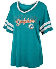 Women's Miami Dolphins Sleeve Stripe Slub T-Shirt