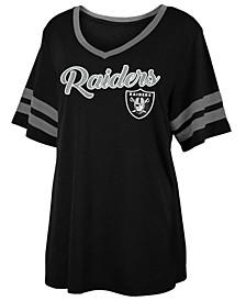 Women's Oakland Raiders Sleeve Stripe Slub T-Shirt