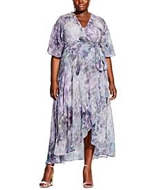 Plus Size Floral-Print Empire-Waist Dress