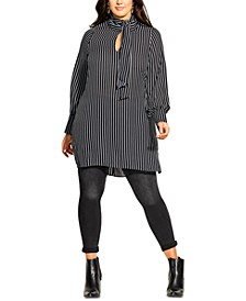 Plus Size Striped Tie-Neck Tunic