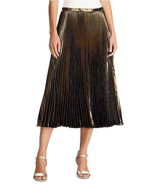 Lauren Ralph Lauren Pleated Metallic Skirt