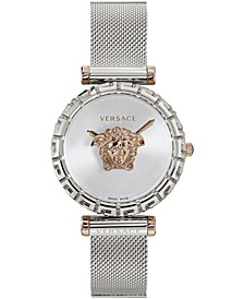 Women's Swiss Palazzo Empire Greca Stainless Steel Mesh Bracelet Watch 37mm