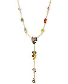 "Gold-Tone Multicolor Rhinestone 20"" Lariat Necklace"