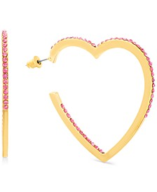 Gold-Tone Rhinestone Open Heart Drop Earrings