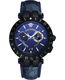 Men's Swiss V-Race Blue Leather Strap Watch 46mm