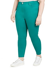 Trendy Plus Size High-Rise Color Skinny Jeans