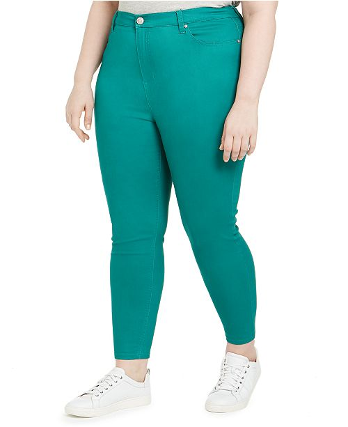 Celebrity Pink Trendy Plus Size High-Rise Color Skinny Jeans