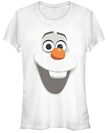 Disney Women's Frozen Olaf Big Face Short Sleeve Tee Shirt