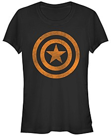 Marvel Women's Captain America Tonal Orange Cut-Out Short Sleeve Tee Shirt