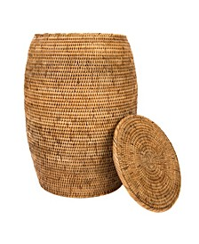 Rattan End Table and Hamper with Lid