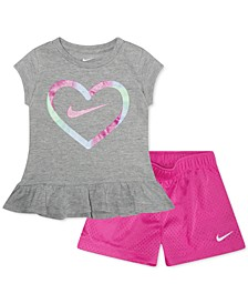 Baby Girls 2-Pc. Heart-Print Peplum Top & Shorts Set
