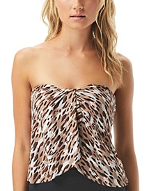 Cat-Print Draped Bandeau Tankini Top