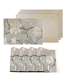 Reversible Metallic Place Mats Non-Slip Magnolia Floral Dining Table Placemats - Set of 4