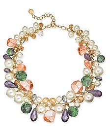"Gold-Tone Imitation Pearl, Bead & Stone Shaky Necklace, 17"" + 2"" extender, Created For Macy's"