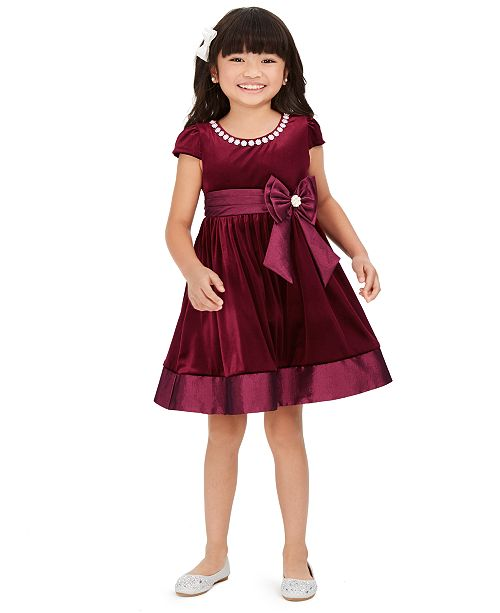 Rare Editions Toddler Girls Embellished Velvet Dress