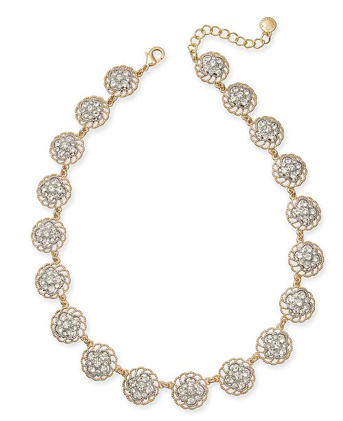 "Charter Club Two-Tone Crystal Palazzo All-Around Collar Necklace, 17"" + 2"" extender, Created for Macy's"