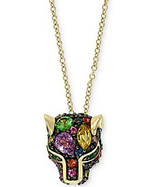 "EFFY® Multi-Gemstone Cat's Head 18"" Pendant Necklace (7/8 ct. t.w.) Pendant Necklace in 14k Gold"