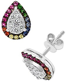 EFFY® Multi-Gemstone (3/8 ct. t.w.) & Diamond (1/3 ct. t.w.) Stud Earrings in 14k White Gold