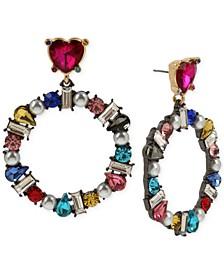 Hematite-Tone Multicolor Crystal & Imitation Pearl Drop Hoop Earrings