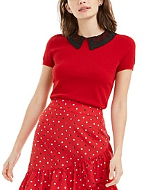 Lace-Contrast Collar Top, Created For Macy's