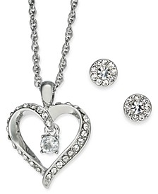 "Silver-Tone Crystal Dancing Heart Pendant Necklace & Stud Earrings Boxed Set, 17"" + 2"" extender, Created for Macy's"