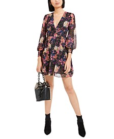 Confetti Printed Blouson-Sleeve Dress, Created For Macy's