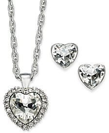 "Silver-Tone Crystal Heart Pendant Necklace & Stud Earrings Boxed Set, 17"" + 2"", Created for Macy's"