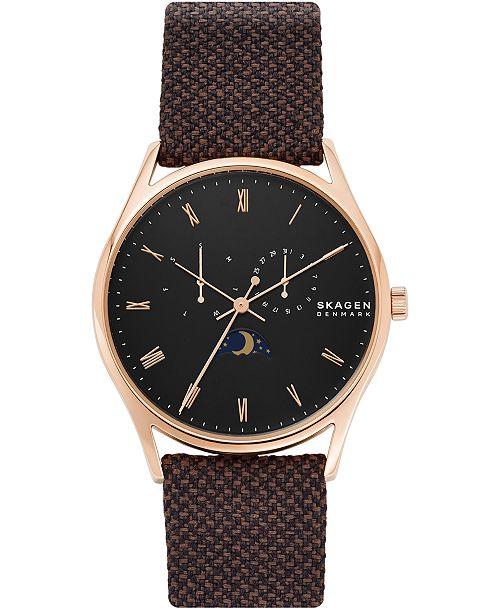 Skagen Men's Holst Kvadrat Brown Nylon Strap Watch 40mm