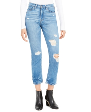 Hudson Jeans boosts your denim style with these cool cotton jeans. The high-waist design pairs perfectly with cropped straight legs on for an of-the-moment look with nostalgic appeal. Ripping, distressing, and a faded light blue wash offer an edgy-chic finish.