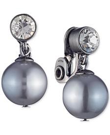 Hematite-Tone Crystal & Imitation Pearl Clip-On Drop Earrings