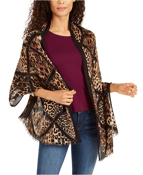 INC International Concepts INC Diamond Animal Printed Pashmina, Created for Macy's