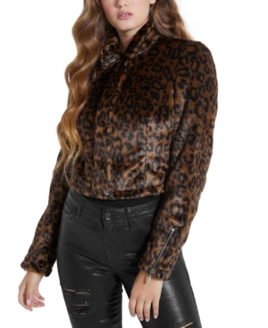 Guess Jackets MEOW COLLARED FAUX-FUR JACKET