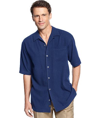 Tommy Bahama Men's 100% Silk Short-Sleeve Catalina Twill Shirt ...