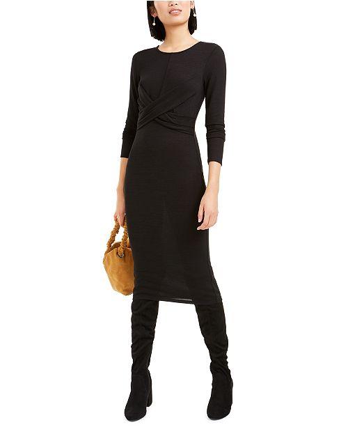 Bar III Twist-Front Dress, Created For Macy's