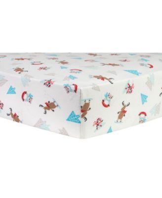 Frosty Fun Flannel Crib Sheet