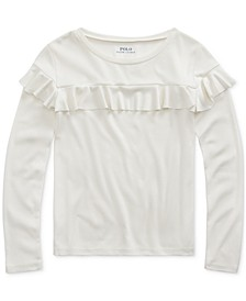 Little Girls Ruffled Cotton-Modal Top