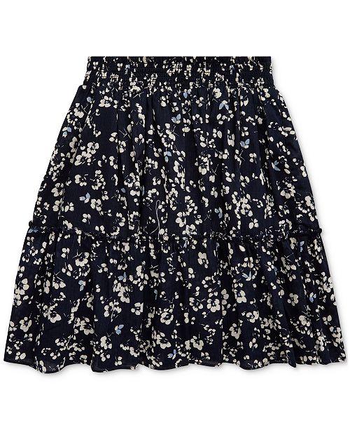 Polo Ralph Lauren Big Girls Floral Tiered Cotton Skirt