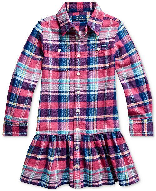 Polo Ralph Lauren Toddler Girls Plaid Cotton Twill Dress