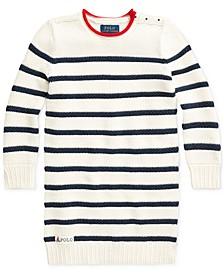 폴로 랄프로렌 여아용 스웨터 원피스 Polo Ralph Lauren Toddler Girls Striped Cotton Sweater Dress,Clubhouse Cream