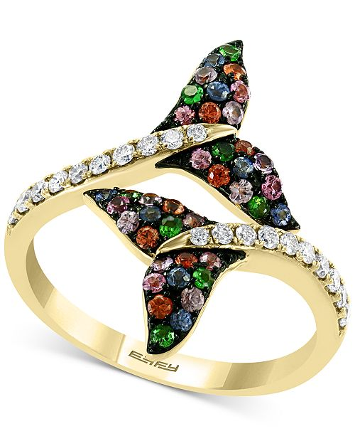EFFY Collection EFFY® Multi-Gemstone (3/8 ct. t.w.) and Diamond (1/4 ct. t.w.) Dolphin Tail Bypass Ring in 14k Gold