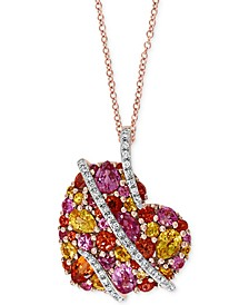 "EFFY® Multi-Sapphire (2-1/2 ct. t.w.) & Diamond (1/8 ct. t.w.) Heart 18"" Pendant Necklace in 14k Rose Gold"