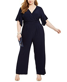 Plus Size Surplice Ruched Jersey Jumpsuit