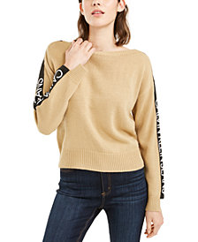 Calvin Klein Jeans Cropped Logo-Sleeve Sweater