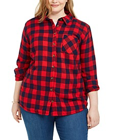 Derek Heart Trendy Plus Size Fleece-Lined Plaid Jacket
