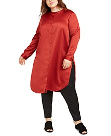 Plus Size Satin Mandarin Collar Tunic