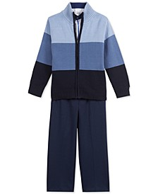 Little Boys 3-Pc. Colorblocked Sweater, Dress Shirt & Pants Set