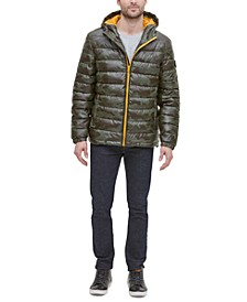Men's Faux-Leather Puffer Coat