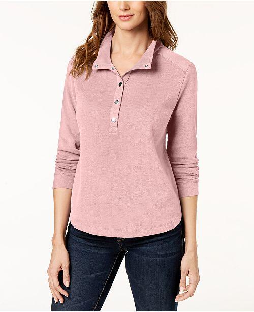 Karen Scott Petite Stand-Collar Snap-Front Top, Created for Macy's