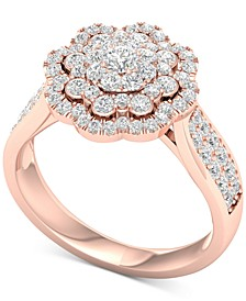 Diamond Flower Halo Cluster Statement Ring (1 ct. t.w.) in 14k Rose Gold